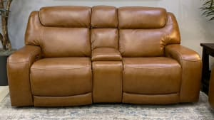 Brown Leather Power Loveseat