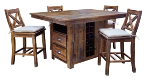 IMPORT FRESNO ISLAND COUNTER TABLE AND 4 STOOLS, , hi-res
