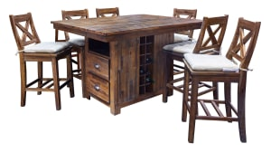 IMPORT FRESNO ISLAND COUNTER TABLE AND 6 STOOLS, , hi-res