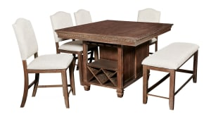 Import Regent Counter Table with 4 Chairs and Bench, , hi-res