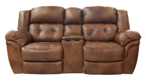 Hopeful Leather Reclining Loveseat W/Console