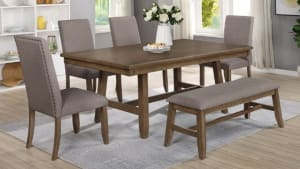 Import Manning Dining Table with 4 Chairs and Bench