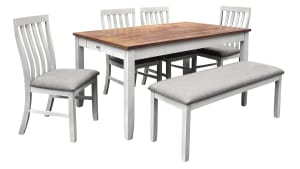 IMPORT BRIDGETTE DINING TABLE WITH BENCH AND 4 CHAIRS, , hi-res