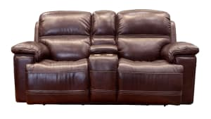 Secretariat Burgundy Power Reclining Loveseat with Console
