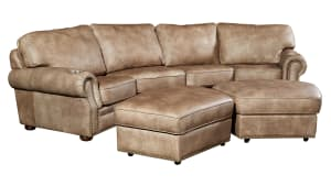 H213 Aged Pewter Leather Home Theater Seating, 4-Piece Set