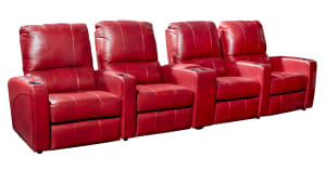 T318 Cosmopolitan Leather Power Reclining Home Theater Seating, 4-Piece Set