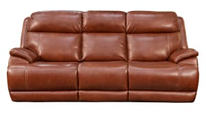 Saddle Brown Leather Power Reclining Sofa
