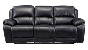 Driftwood Reclining Black Sofa