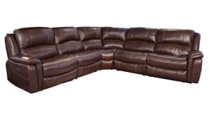 Brown Leather Power Reclining Sectional