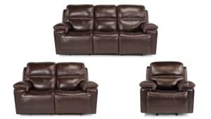 Secretariat Burgundy Leather Pwr Reclining Set W/O Console