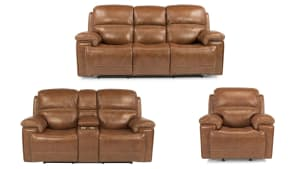 Secretariat Brown Leather Pwr Reclining Set W/Console
