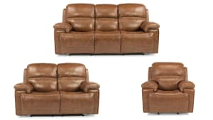 Secretariat Brown Leather Pwr Reclining Set W/O Console