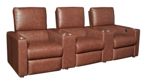 G133 Maple Leather Power Reclining Home Theater Seating, 3-Piece Set