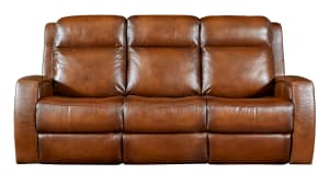 Mustang Saddle Leather Power Reclining Sofa W/Power Headrest