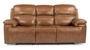 Secretariat Brown Leather Power Reclining Sofa W/Power Headrest