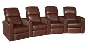 G134 Walnut Leather Power Reclining Home Theater Seating, 4-Piece Set, , hi-res