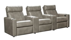T315 Cobblestone Leather Power Reclining Home Theater Seating, 3-Piece Set, , hi-res