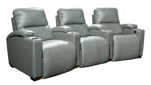 H272 Gun Metal Leather Power Reclining Home Theater Seating, 3-Piece Set, , hi-res