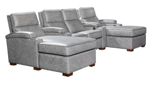 T369 Fossil Leather Power Reclining Home Theater Seating, 4-Piece Set
