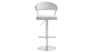 Cosmo White Stainless Steel Barstool, , hi-res