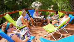 Footsteps Eco-lodge Gambia   guests on sundeck