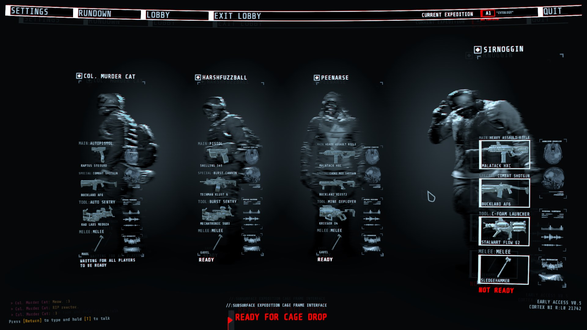 GTFO coop game showing equipment
