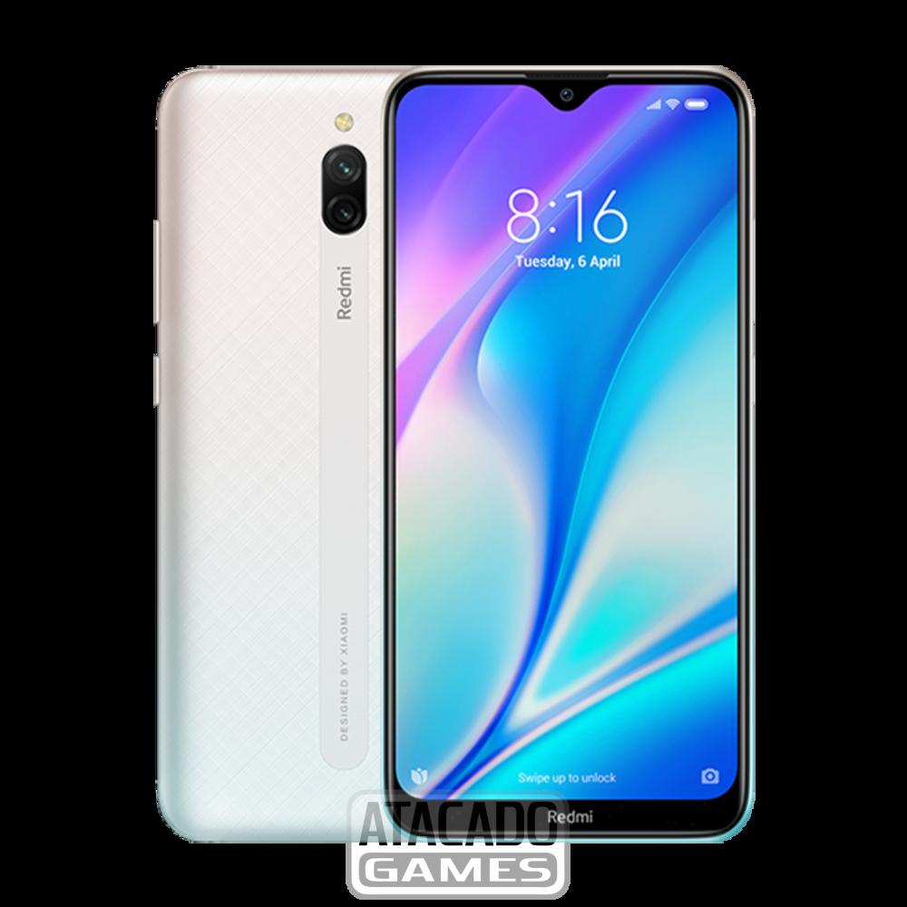 Celular Xiaomi Redmi 8A 32GB / 2GB RAM / 4G / Dual Sim / Tela 6.2'' / Câmeras 12MP e 8MP - Branco (Índia / Carregador Europeu)