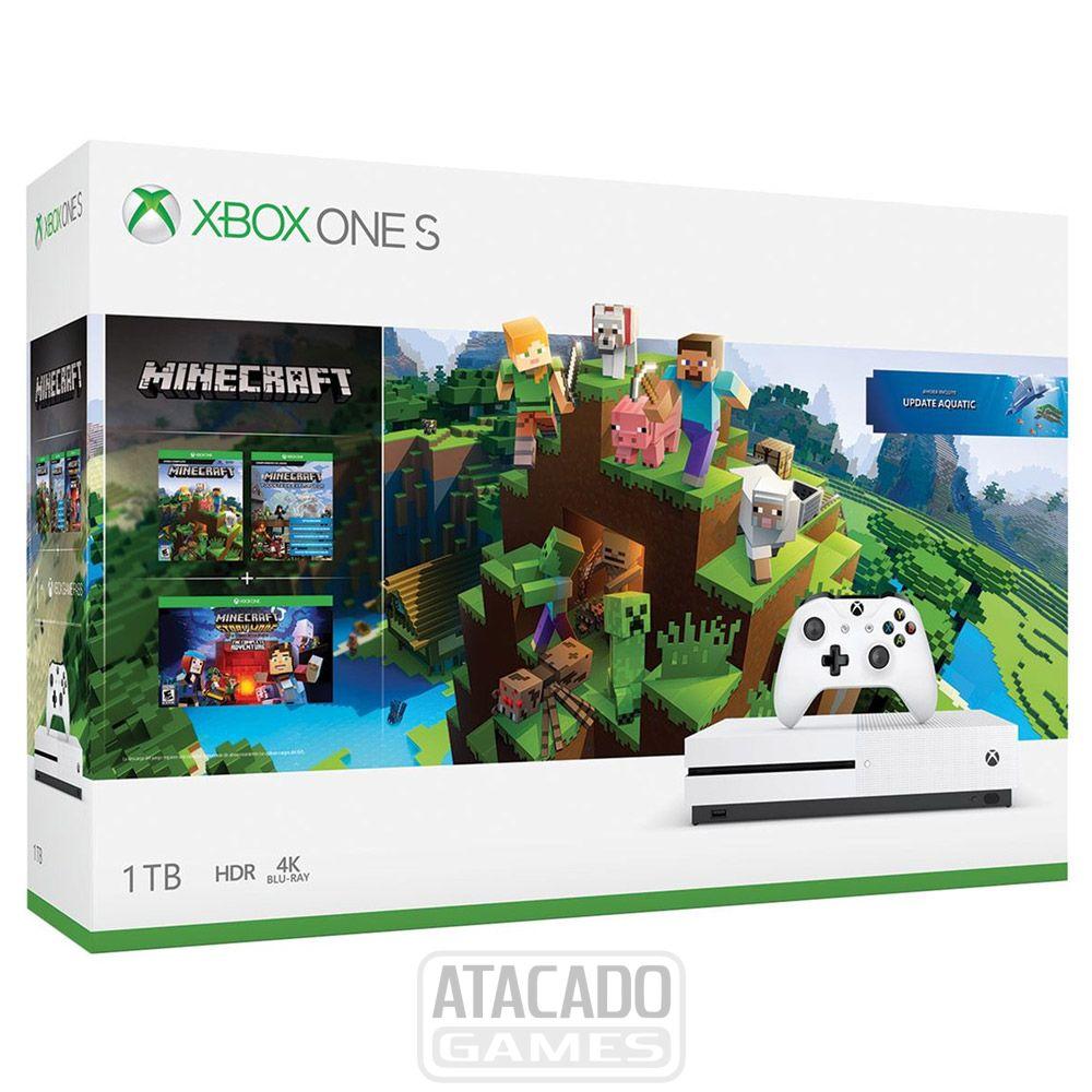 Console Xbox One S 10tb Bundle Minecraft - Branco