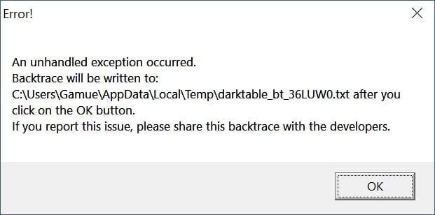 Eine Fehlermeldung beim Absturz von Darktable.