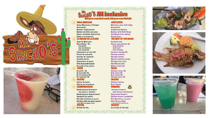 Mr Sanchos Menu [Food & Drink] for All Inclusive & Pay as you go Guests