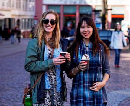 Students having coffee while touring Heidelberg