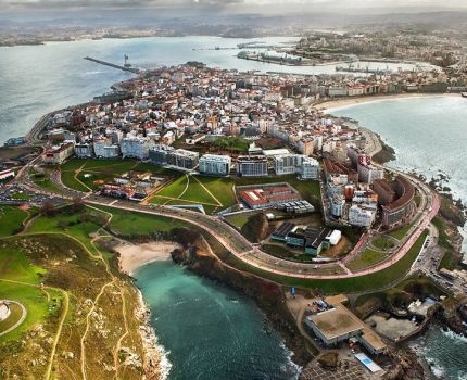 Bird's eye view of the city of A Coruña in Spain