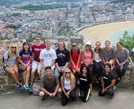 USAC students took a picture after a long hike on top of the Urgull Mountain in San Sebastián, Spain.