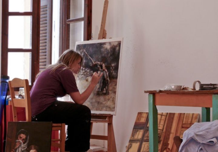 Student painting at the Aegean Center for the Fine Arts