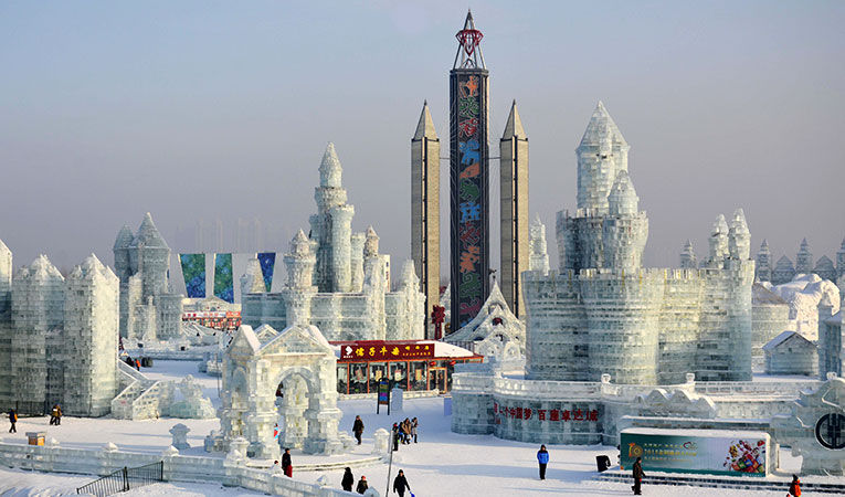 Ice sculpture exhibition in Harbin, China