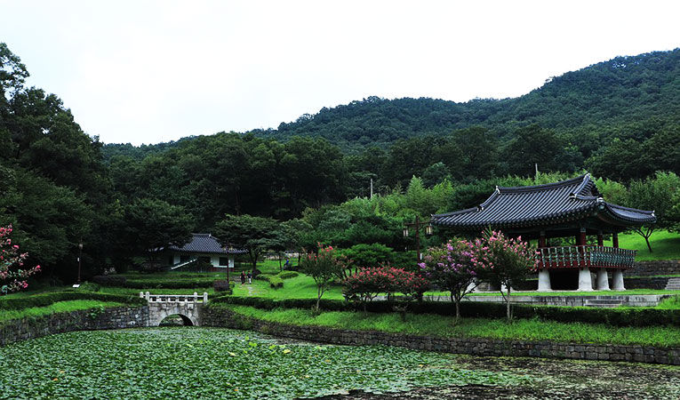 Lily ponds with green grass, trees, pathways, and traditional Korean architecture