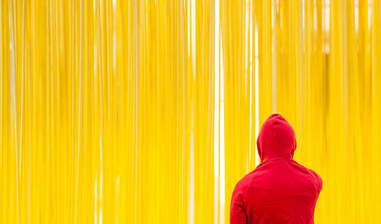 guy pensively staring at yellow all