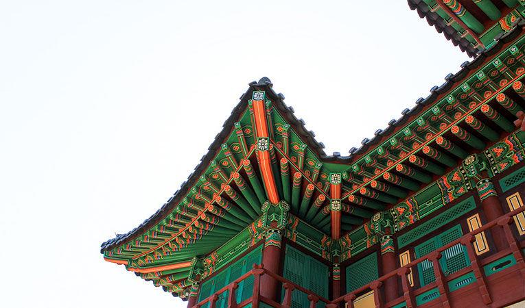 Colorful Korean castle roof