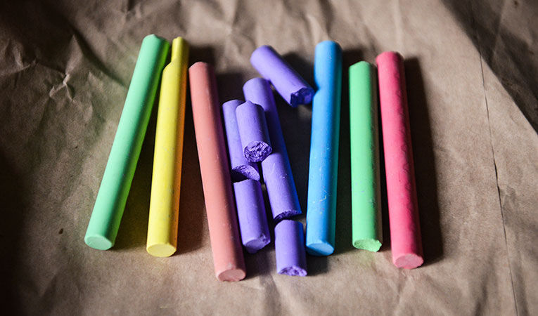 colorful chalk on paper
