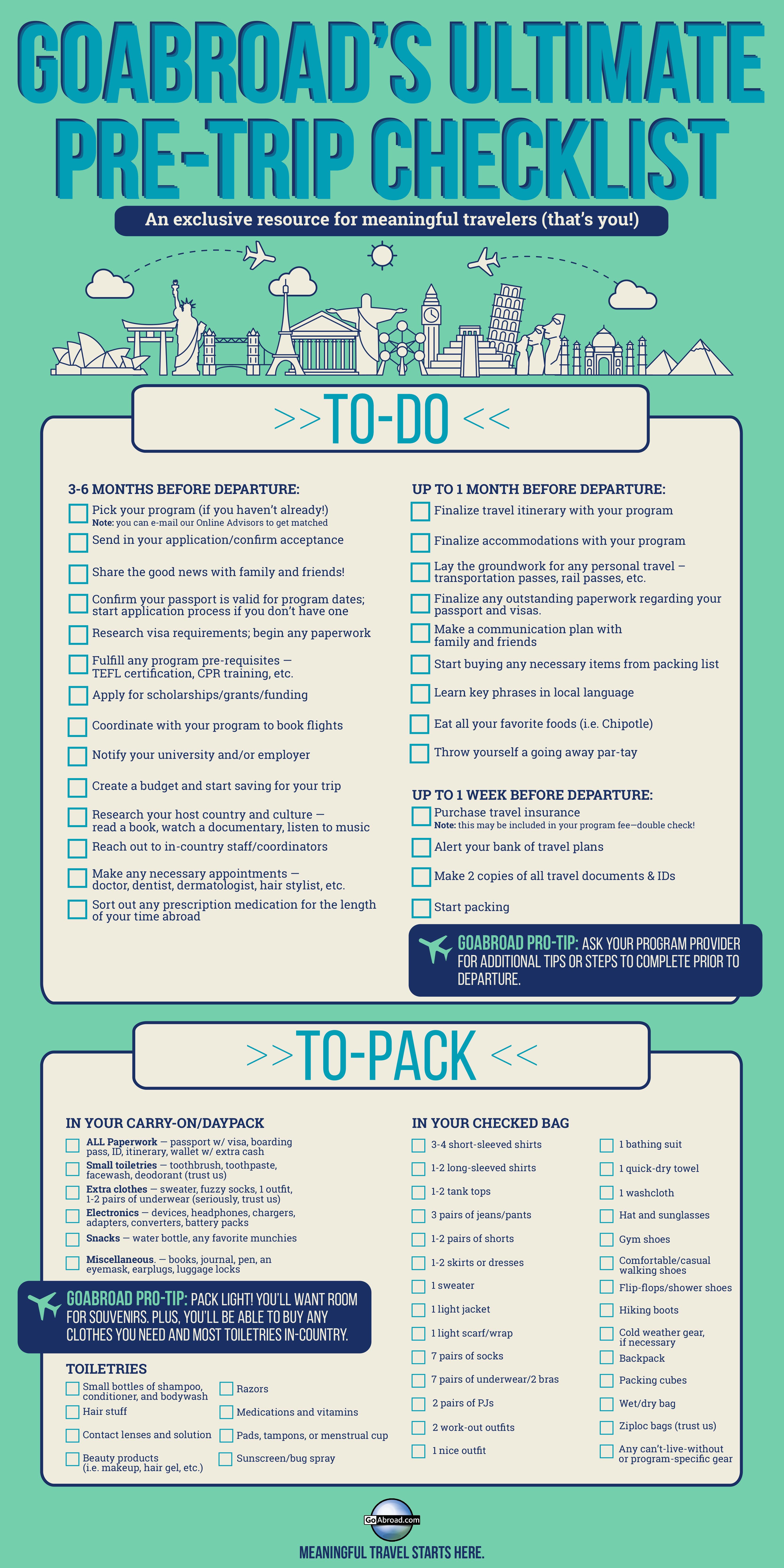 The Essential International Travel Checklist PDF For