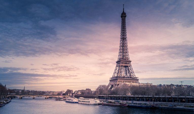 Eiffel tower and the Seine in Paris