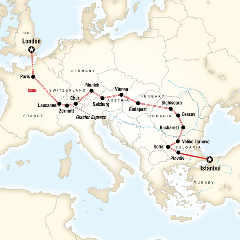 Backpacking trips around the world made easy goabroad map of a route from london to istanbul gumiabroncs Gallery