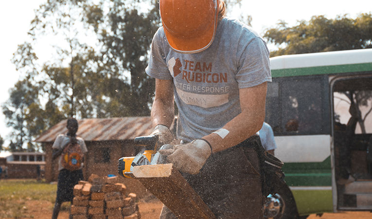 building volunteer in Uganda