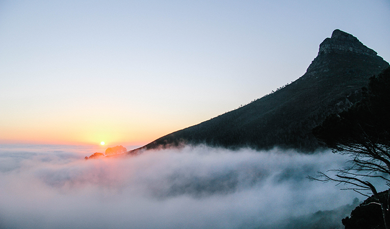Table Mountain in the morning mist, Cape Town, South Africa