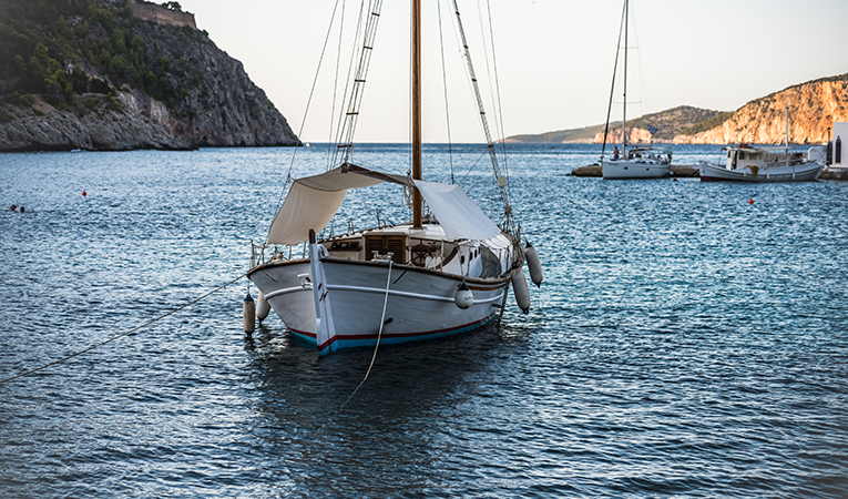 Sailboat in the waters of Asos, Greece