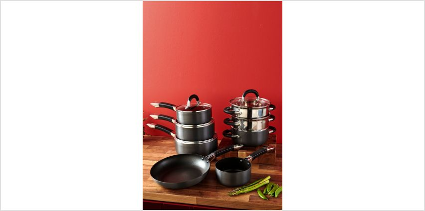 Hard Anodised Pan Set with 2 FREE Steamers from Studio