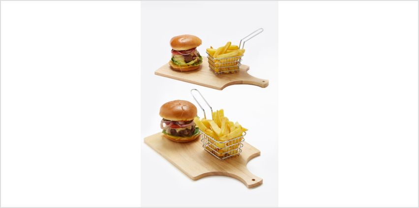 Set of 2 Wooden Boards and Chip Baskets from Studio