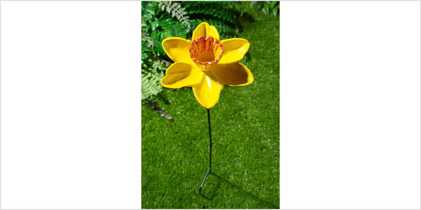 Metal Daffodil Flower Bird Feeding Dish from Studio