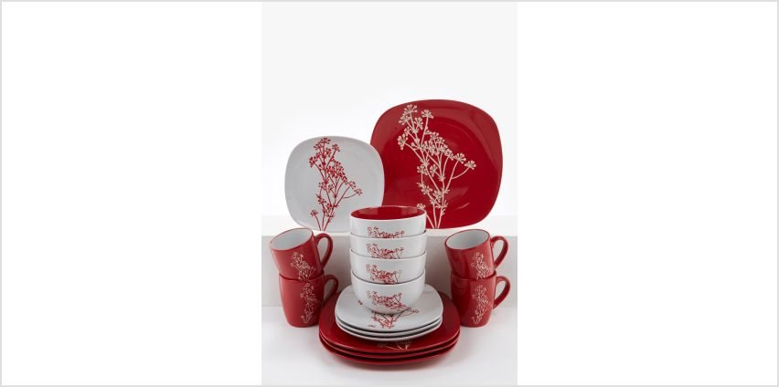 16-Piece Red and White Branch Print Dinner Set from Studio