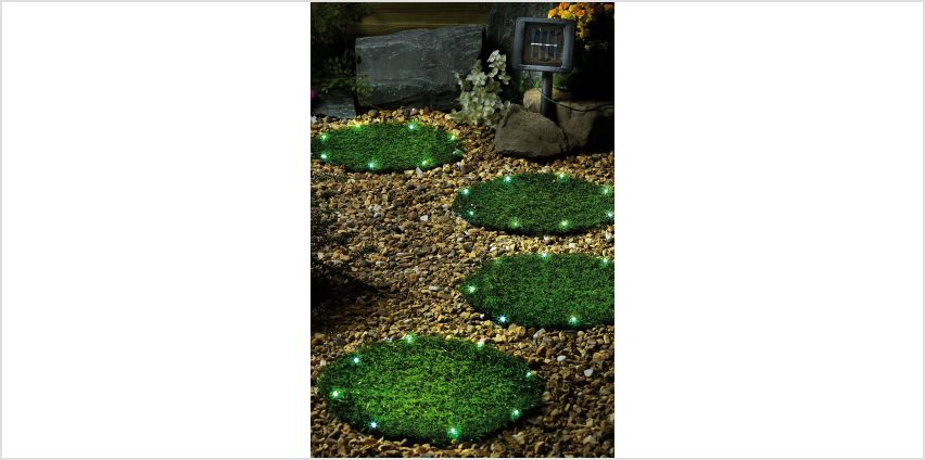 Solar Artificial Grass Round Stepping Stones from Studio